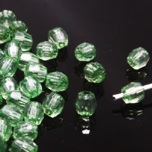 Beads, Imitation Crystal beads, Acrylic, green, Faceted cylindrical, 4mm x 4mm x 5mm, 2g, 100 Beads, (SLZ0426)